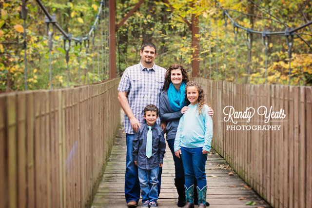 Randy Yeats Photography: December Mini, Parents and two kids on bridge